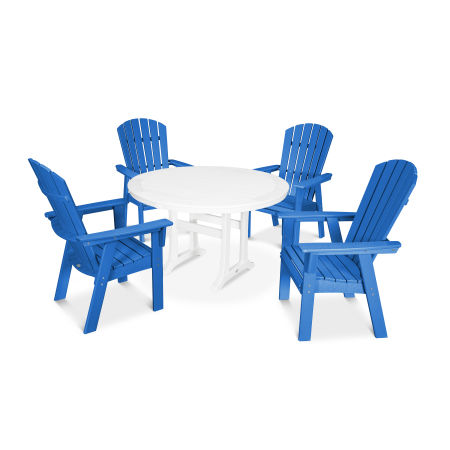 Nautical Adirondack 5-Piece Round Trestle Dining Set in Pacific Blue / White