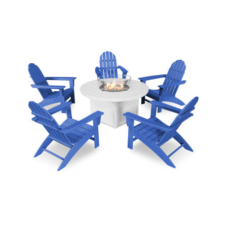 Vineyard Adirondack 6-Piece Chat Set with Fire Pit Table in Pacific Blue