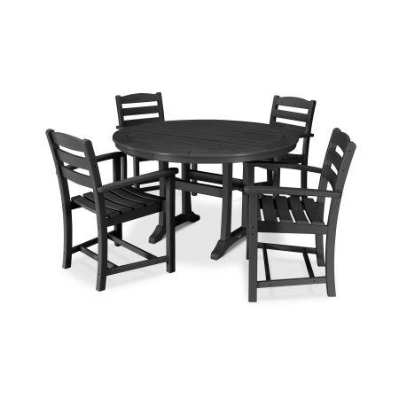 La Casa Café 5 Piece Arm Chair Dining Set in Black