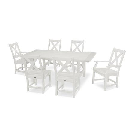 Braxton 7-Piece Rustic Farmhouse Dining Set in White