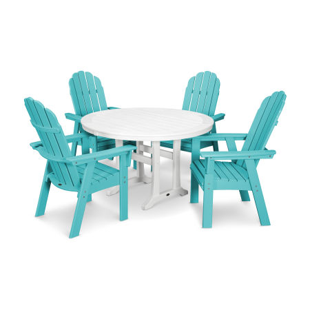 Vineyard Adirondack 5-Piece Nautical Trestle Dining Set in Aruba / White
