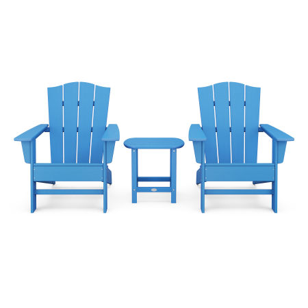 Wave 3-Piece Adirondack Chair Set with The Crest Chairs in Pacific Blue