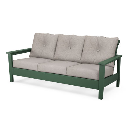 Prescott Deep Seating Sofa in Green / Weathered Tweed