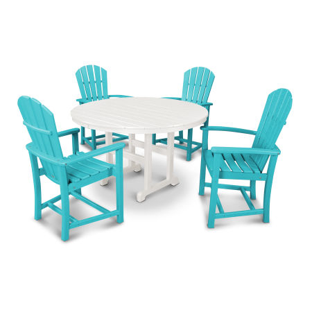 Palm Coast 5-Piece Dining Set in Aruba / White
