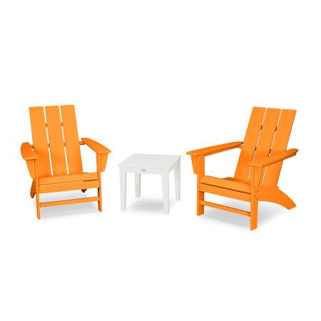 Modern Adirondack 3-Piece Set in Tangerine / White