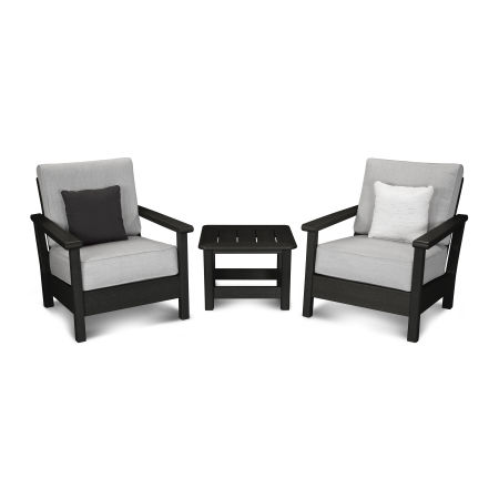 Harbour 3-Piece Deep Seating Set in Black / Canvas Granite