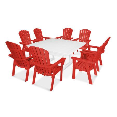 Nautical Adirondack 9-Piece Trestle Dining Set in Sunset Red / White