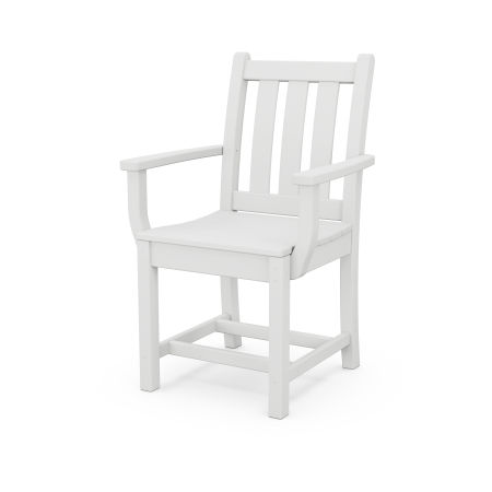 Traditional Garden Dining Arm Chair in White