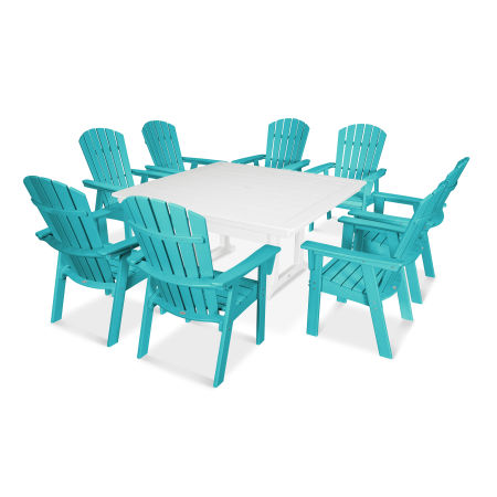 Nautical Adirondack 9-Piece Trestle Dining Set in Aruba / White