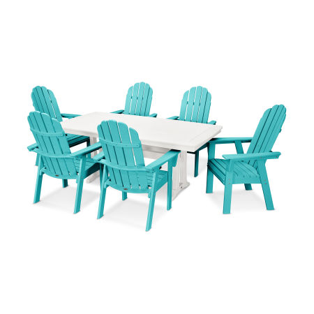 Vineyard Adirondack 7-Piece Nautical Trestle Dining Set in Aruba