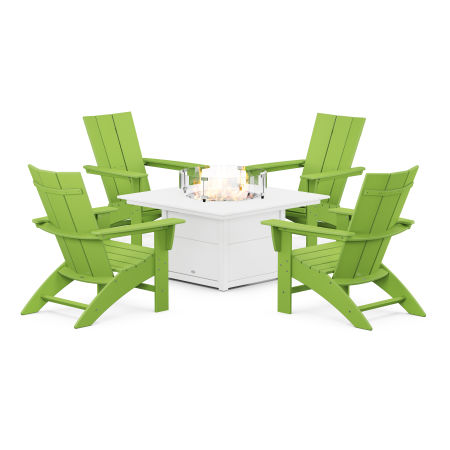 Modern Curveback Adirondack 5-Piece Conversation Set with Fire Pit Table in Lime