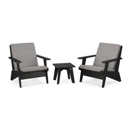 Riviera Modern Lounge 3-Piece Set in Black / Grey Mist