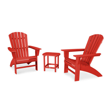 Nautical 3-Piece Curveback Adirondack Set in Vintage Sunset Red