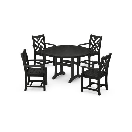 Chippendale 5-Piece Nautical Trestle Dining Arm Chair Set in Black