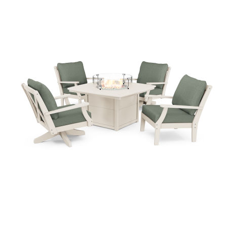 Braxton 5-Piece Deep Seating Set with Fire Table in Sand / Cast Sage