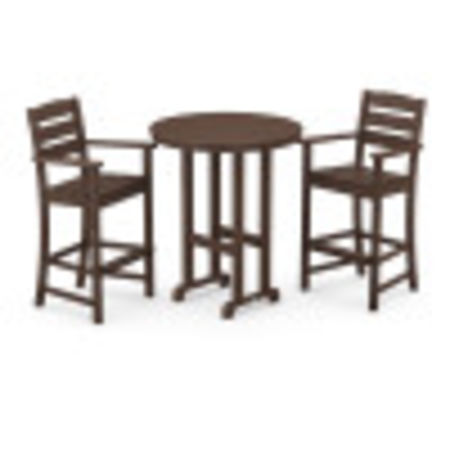 Lakeside 3-Piece Round Bar Arm Chair Set in Mahogany