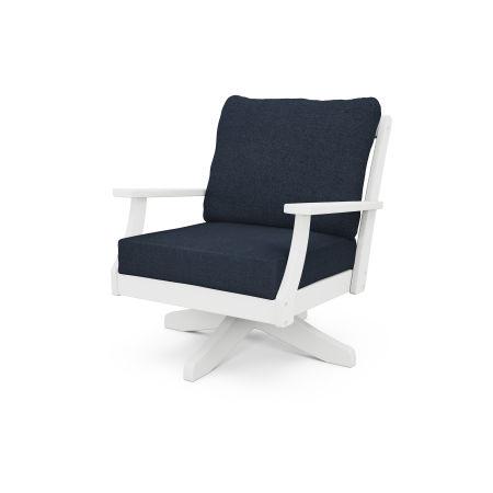 Braxton Deep Seating Swivel Chair in White / Marine Indigo