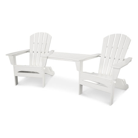 Palm Coast Folding Adirondack Tête-à-Tête Set in White