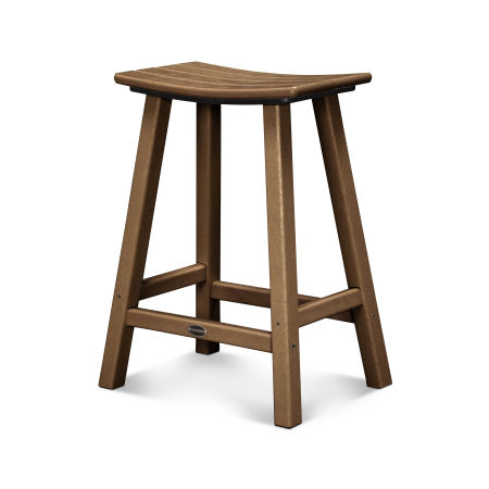 """Traditional 24"""" Saddle Counter Stool in Teak"""