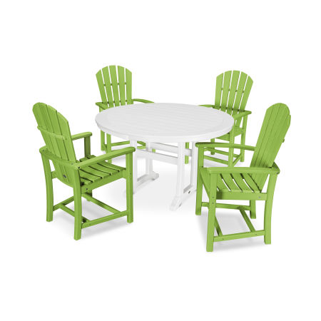 5 Piece Palm Coast Dining Set in Lime / White
