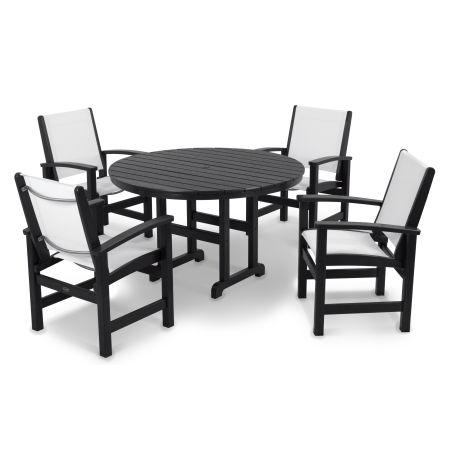 Coastal 5-Piece Dining Set in Black / White Sling