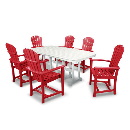Palm Coast 7-Piece Dining Set in Sunset Red / White