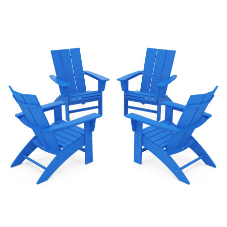 4-Piece Modern Curveback Adirondack Conversation Set in Pacific Blue