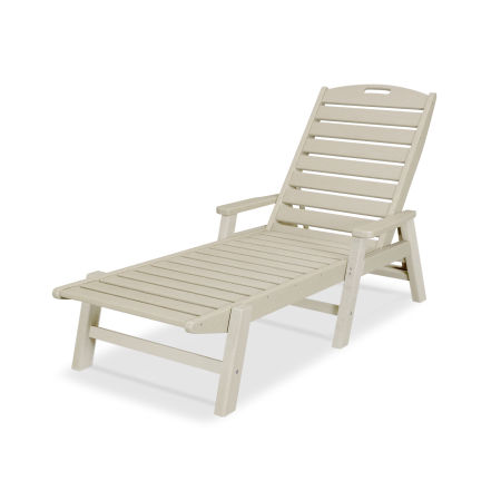 Nautical Chaise with Arms in Sand
