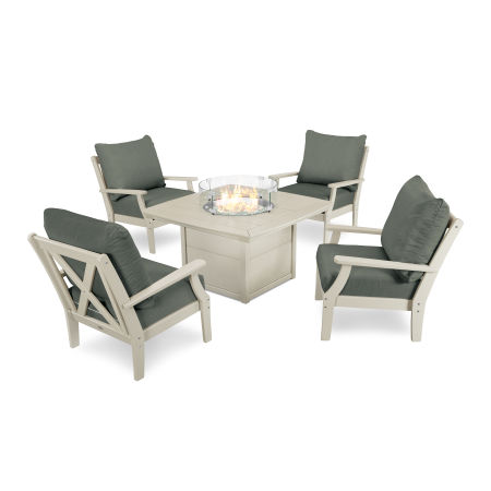 5-Piece Deep Seating Conversation Set with Fire Pit Table in Sand / Cast Sage