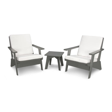 Riviera Modern Lounge 3-Piece Set in Slate Grey / Natural