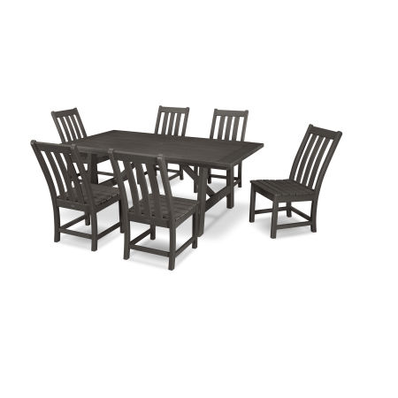 Vineyard 7-Piece Rustic Farmhouse Side Chair Dining Set in Vintage Coffee
