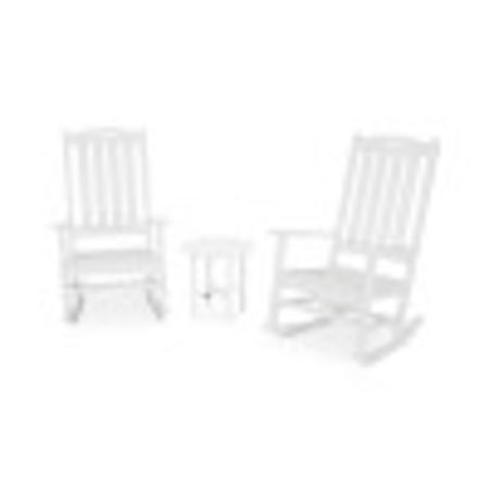 Nautical 3-Piece Porch Rocking Chair Set in White