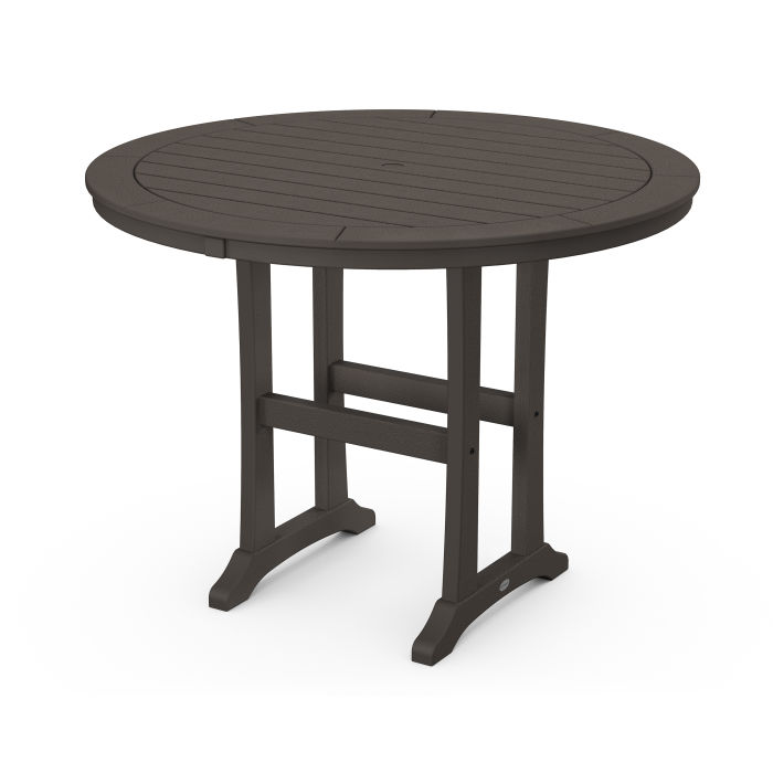 "Nautical Trestle 48"" Round Counter Table in Vintage Finish"
