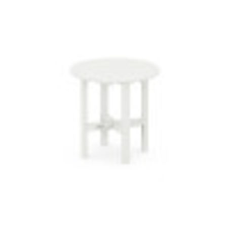 """Round 18"""" Side Table in Vintage White"""