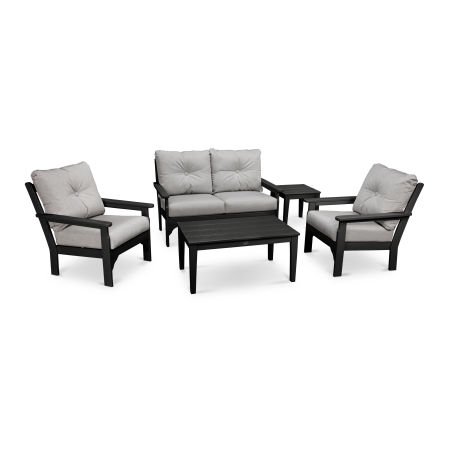 Vineyard 5-Piece Deep Seating Set in Black / Canvas Granite