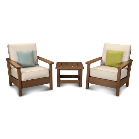Harbour 3-Piece Deep Seating Set in Teak / Antique Beige