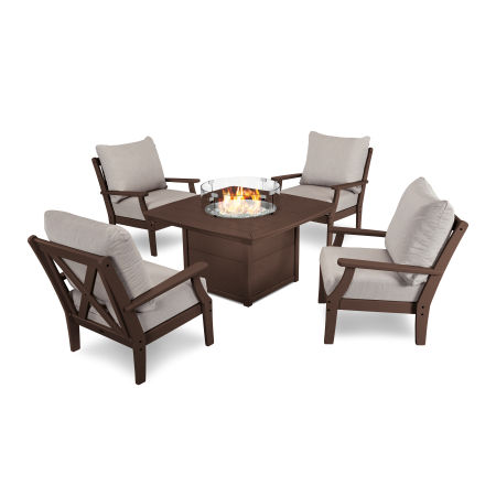 5-Piece Deep Seating Conversation Set with Fire Pit Table in Mahogany / Cast Ash