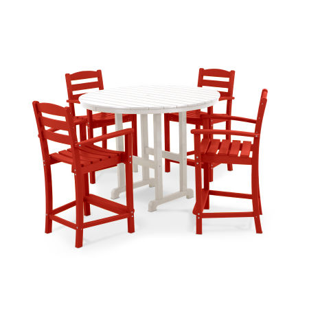 La Casa Café 5-Piece Counter Set in Sunset Red