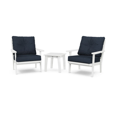 Lakeside 3-Piece Deep Seating Chair Set in White / Marine Indigo