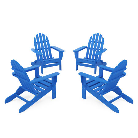 4-Piece Classic Folding Adirondack Conversation Set in Pacific Blue