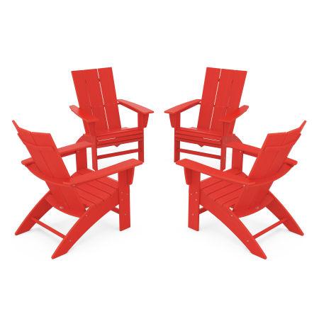 4-Piece Modern Curveback Adirondack Conversation Set in Sunset Red