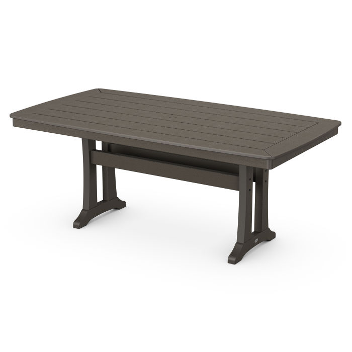 """Nautical Trestle 38"""" x 73"""" Dining Table in Vintage Finish"""