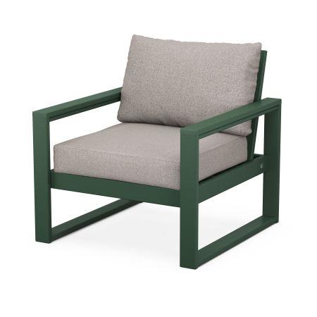 EDGE Club Chair in Green / Weathered Tweed