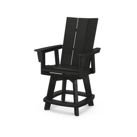 Modern Adirondack Swivel Counter Chair in Black