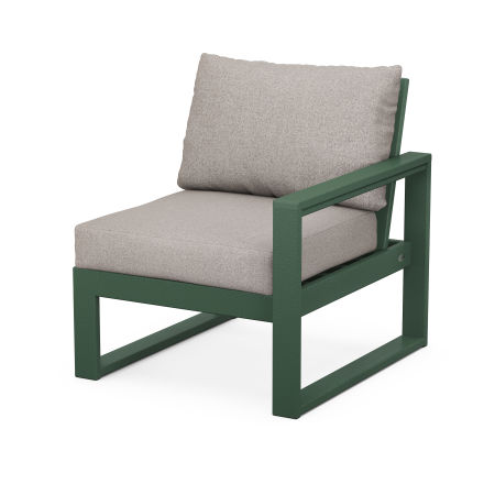 EDGE Modular Right Arm Chair in Green / Weathered Tweed