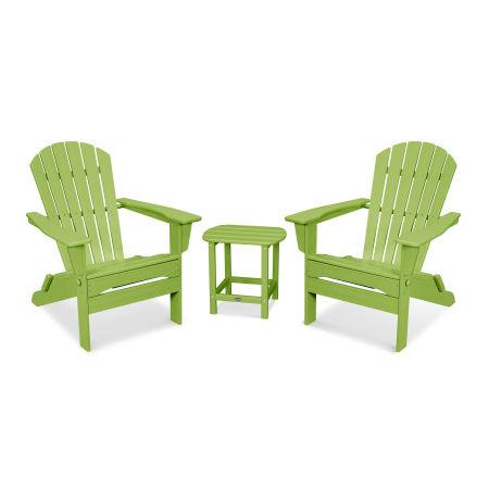 South Beach 3-Piece Folding Adirondack Set in Lime