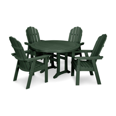 Vineyard Adirondack 5-Piece Nautical Trestle Dining Set in Green