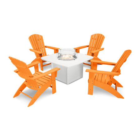 Nautical Curveback Adirondack 5-Piece Conversation Set with Fire Table in Tangerine