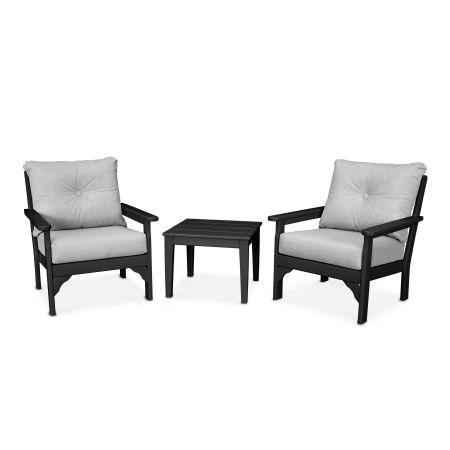 Vineyard 3-Piece Deep Seating Set in Black / Canvas Granite