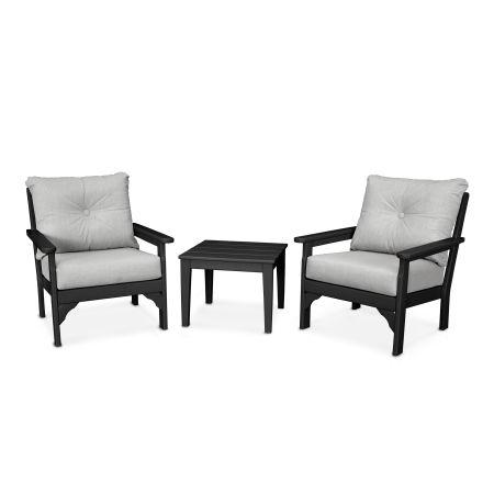 Vineyard 3-Piece Deep Seating Set in Black / Canvas Granite